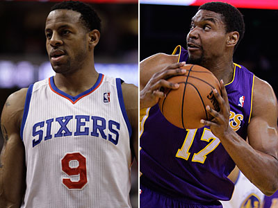 The Sixers have dealt Andre Iguodala and will receive Andrew Bynum in a four-team trade. (AP Photos)