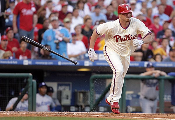 Phillies starting pitcher Brett Myers helps his own cause with a 2-RBI single in the third inning of game two against the Dodgers. ( Yong Kim / Staff Photographer )