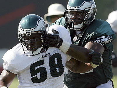 Jason Peters (right) says he knows he needs to improve this year. (Yong Kim/Staff Photographer)