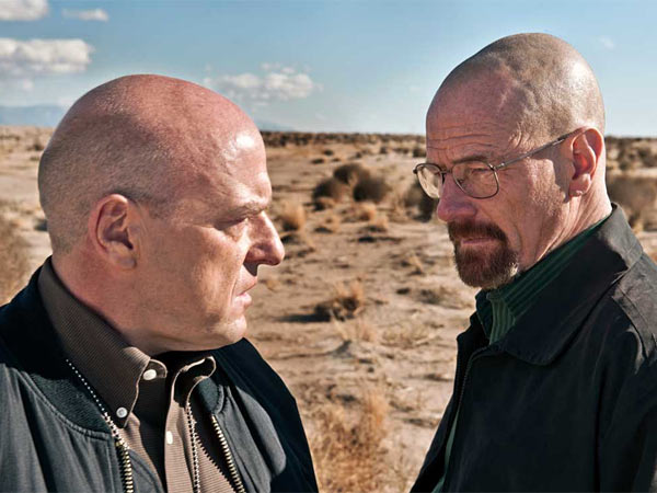 "Dean Norris as Hank Schrader, left, and Bryan Cranston as Walter White in ""Breaking Bad."" (AP Photo/AMC, Frank Ockenfels)"