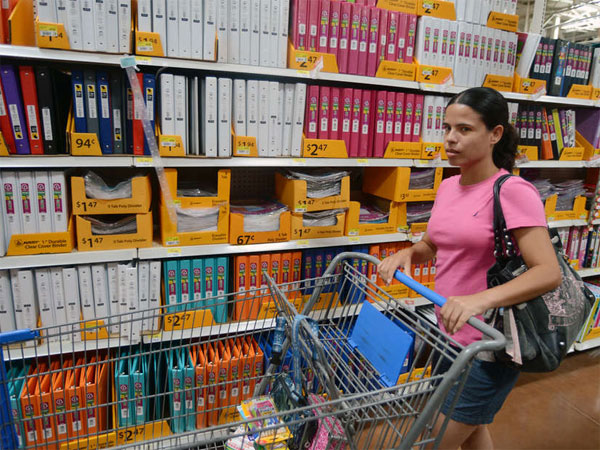 Alajandra Lozano shops for back-to-school supplies in Brownsville, Texas. (Brad Doherty / Associated Press)
