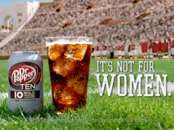 Screen grab of a Dr Pepper Ten ad. This approach works because men, apparently, don´t want to buy items strongly associated with women.