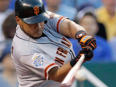 Melky Cabrera of the Giants has been suspended 50 games for testing positive for a banned substance. (AP Photo/Charlie Riedel)