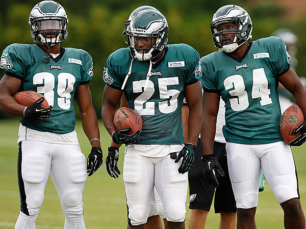 Eagles running backs Matthew Tucker, left, LeSean McCoy, center, Bryce Brown, right. (David Maialetti/Staff Photographer)