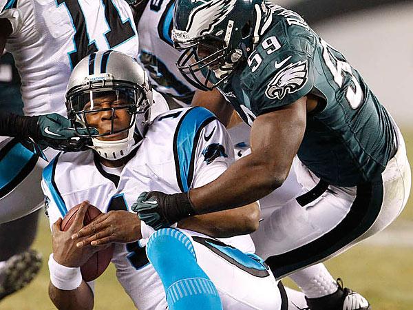 Eagles linebacker DeMeco Ryans stops Carolina QB Cam Newton. (Ron Cortes/Staff Photographer)