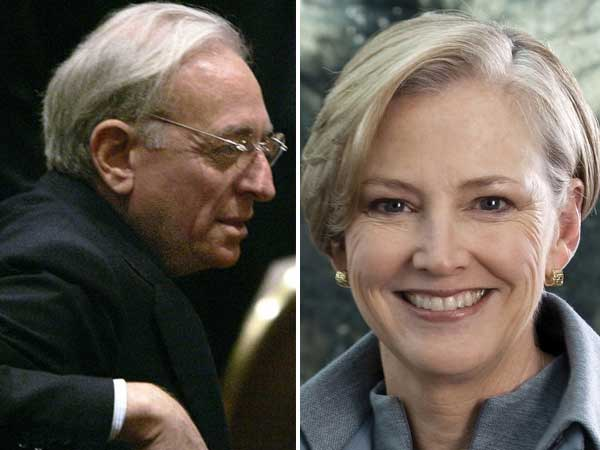 Activist investor Nelson Peltz (left). Ellen Kullman (right), CEO of Wilmington-based DuPont company. (AP Photos)