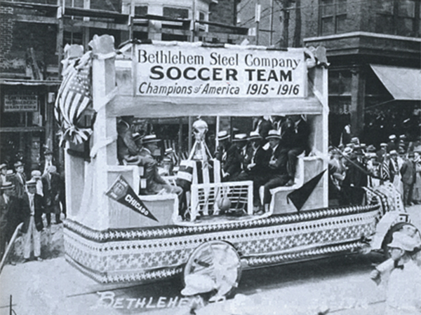 The Bethlehem Steel FC victory float after winning their second U.S. Open Cup, then known as the National Challenge Cup, on May 6, 1916. (Photo: University Archives & Special Collections Department, Lovejoy Library, Southern Illinois University Edwardsville)