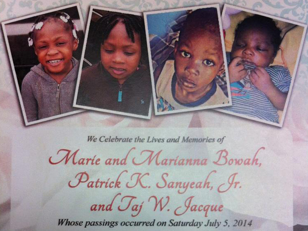 The wake for the inferno´s four young victims: twins Maria and Marialla Bowah, 4, Patrick Sanyesh, also 4, and 1-month-old Taj Jacque, is being held 8 p.m., Aug. 15, at the Divine Mercy Parish in Southwest Philadelphia.