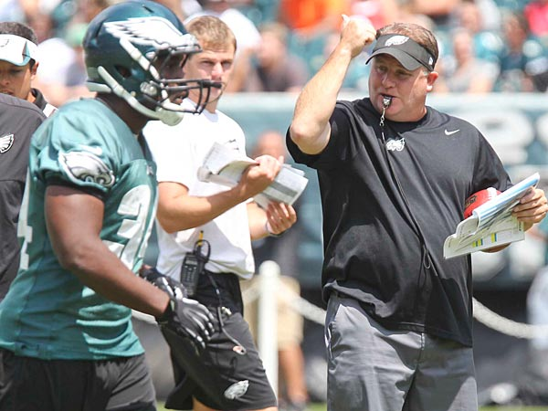 Head coach Chip Kelly directs players during Eagles practice.  (David M Warren/Staff Photographer)