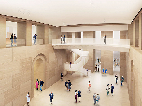 In a rendering, the new Forum at the heart of the museum requires ripping out an auditorium beneath the Great Stair Hall. (Gehry Partners L.L.P.)