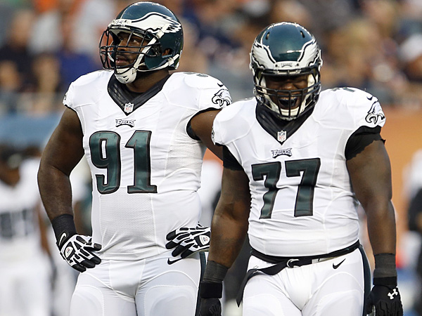 Eagles defensive linemen Fletcher Cox (left) and Damion Square (right). (Yong Kim/Staff Photographer)
