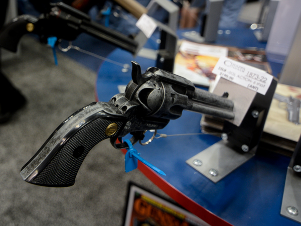 A six-shot revolver is placed on display in the NRA convention´s exhibit hall. (Jacob Byk/News21)