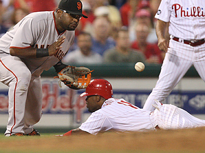 Jimmy Rollins hit a single, a triple, and a home run Aug. 18 vs. San Francisco. (David M Warren/Staff Photographer)