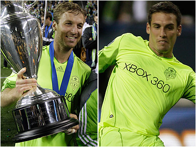 Jeff Parke (left) and Michael Seamon (right) give the Seattle Sounders a Philly flavor. (AP file photos)