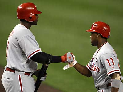 Ryan Howard (left) congratulates Jimmy Rollins (right) after Rollins scored in the third inning. (Jacquelyn Martin/AP)