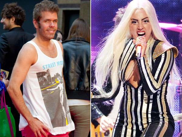 Gossip blogger Perez Hilton, left, and Lady Gaga, right. (AP Photos)