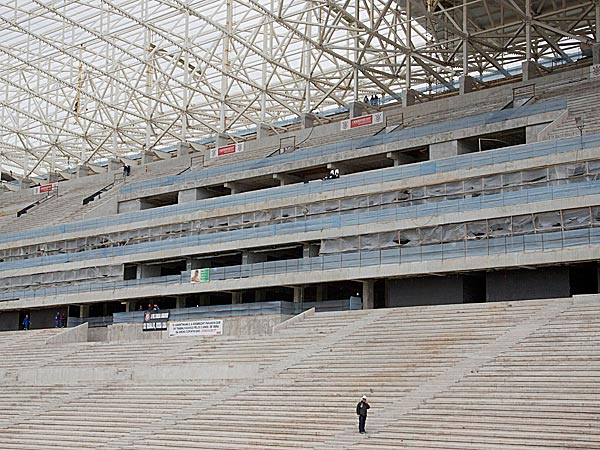 Construction continues at the Arena Corinthians, in Sao Paulo, Brazil. (Andre Penner/AP)
