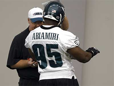 Eagles defensive end Victor Abiamiri (95) returned to practice this week and is expected to play tonight against the Colts. (David Maialetti / Staff Photographer)