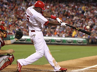 John Mayberry Jr. hit a home run in the sixth inning against the Reds on Monday. (Ron Cortes/Staff Photographer)