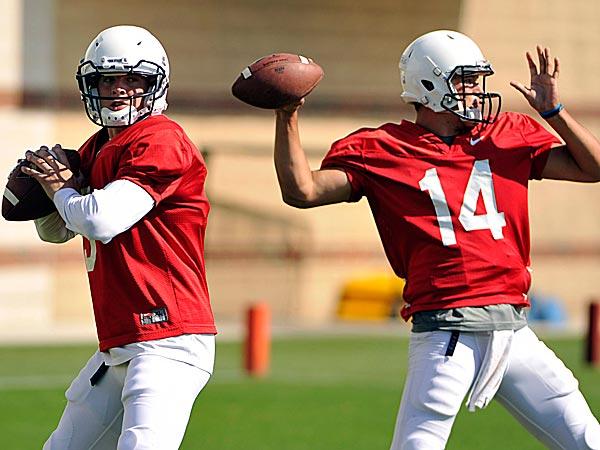 Penn State quarterbacks Tyler Ferguson and Christian Hackenberg. (Nabil K. Mark/Centre Daily Times/AP)