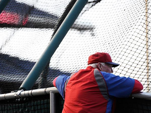 Philadlephia Phillies manager Charlie Manuel is shown before a baseball game against the Atlanta Braves on Sunday, Aug. 4, 2013, in Philadelphia. (AP Photo/Michael Perez)