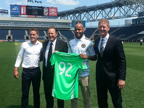 From left to right: Union technical director Chris Albright, CEO and co-owner Nick Sakiewicz, new goalkeeper Rais Mbolhi and interim head coach Jim Curtin. (Kevin Kinkead/The Philly Soccer Page)