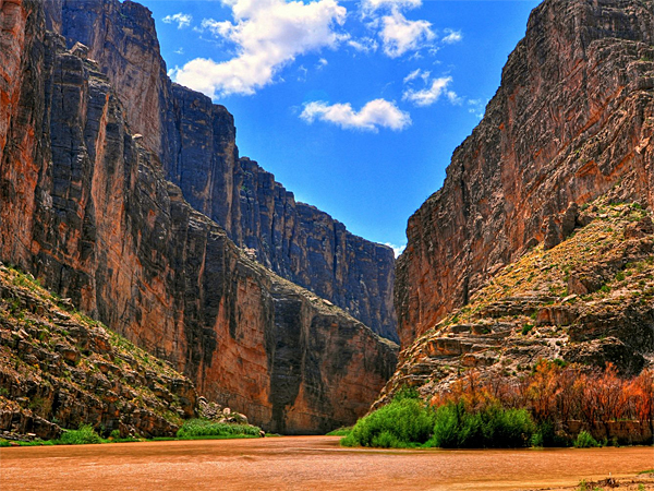 Big Bend National Park along the Rio Grande and Mexican border combines awe-inspiring limestone canyons with rich flora and fauna (including 60 kinds of cactus and 450 species of birds).