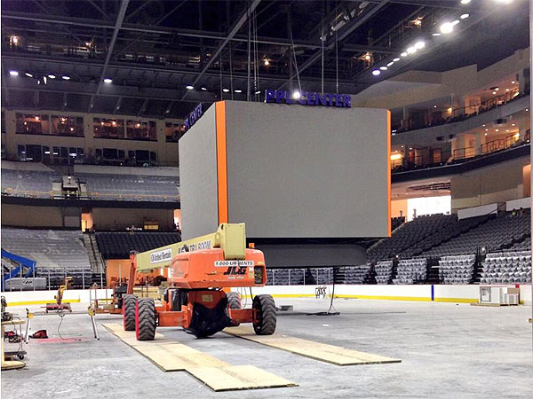 Work continues at the PPL Center in Allentown, which is scheduled to open on Sept. 12. (Photo from facebook.com/PPLCenter)