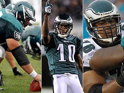 Will DeSean Jackson, center, want Larry Fitzgerald money? (AP/Staff Photos)