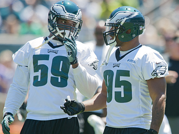 Eagles linebackers Demeco Ryans and Mychal Kendricks. (Clem Murray/Staff Photographer)