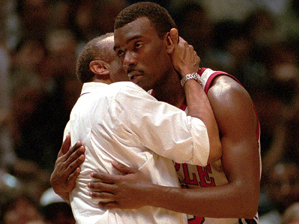 Aaron McKie with former Temple coach John Chaney during the Owls´ 1994 NCAA tournament game against Indiana. (Jim MacMillan/Staff file photo)