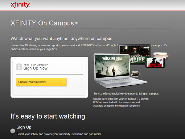 A screen grab from xfinityoncampus.com.