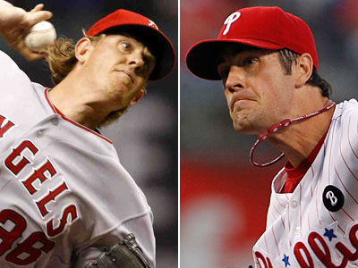 Jared Weaver (left) signed a 5-year contract Sunday that could set a benchmark for Cole Hamels and the Phillies. (AP and Staff Photos)
