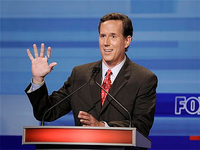 Republican presidential candidate former Pennsylvania Sen. Rick Santorum speaks during the Iowa GOP/Fox News Debate at the CY Stephens Auditorium in Ames, Iowa, Thursday, Aug. 11, 2011. (AP Photo / Charlie Neibergall, Pool)