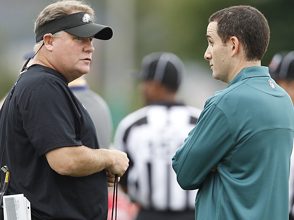 Eagles head coach Chip Kelly (left) and general manager Howie Roseman (right). (David Maialetti/Staff Photographer)