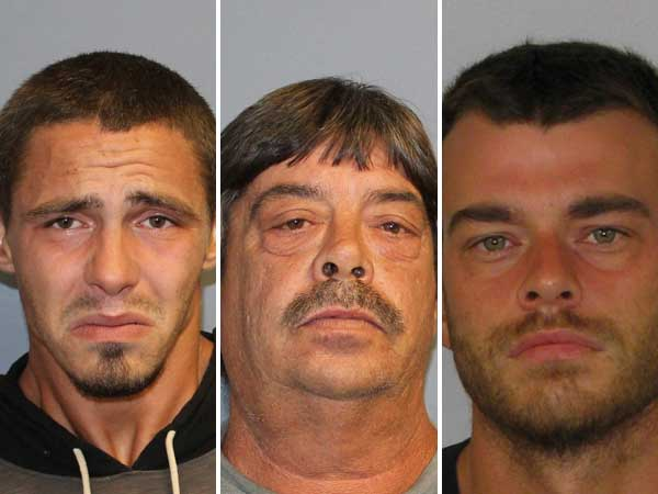 Police say tips from social media followers led to the arrests of (left to right) Joshua Figarola, Theodore Figarola and Robert Mayers in two theft cases. (Photo courtesy of New Jersey State Police)