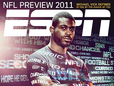 ESPN The Magazine's NFL preview issue features Michael Vick on the cover.