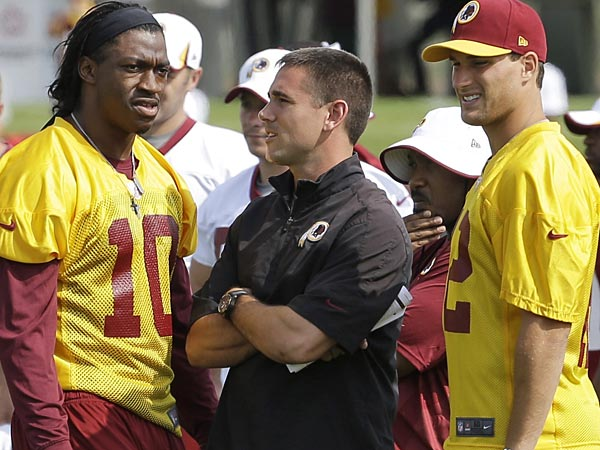 Washington Redskins quarterback coach, Matt LaFleur, center, talks with quarterbacks Robert Griffin III, left, and Kirk Cousins, right. (AP Photo/Steve Helber, File)