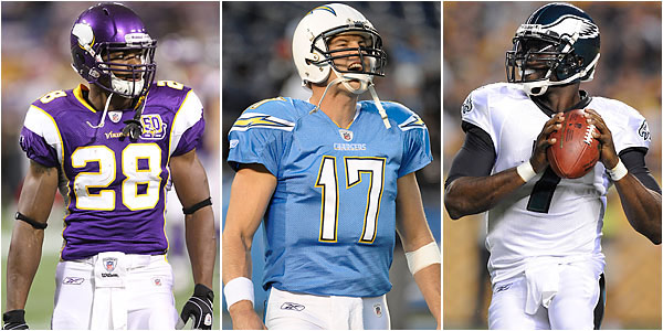 Minnesota Vikings running back Adrian Peterson, San Diego Chargers quarterback Philip Rivers and Eagles quarterback Michael Vick will be among the most sought-after players in fantasy football drafts this year. (AP file photos)