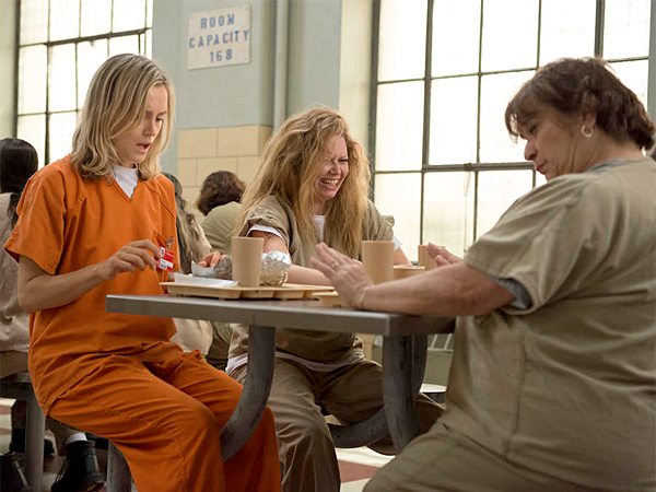 """Orange Ìs the New Black"" is amusing to Emmy nominators - the show set in a prison is up for best comedy series. Also nominated: Taylor Schilling (above in orange), for best actress, and Kate Mulgrew, for best supporting actress. (Netflix)"