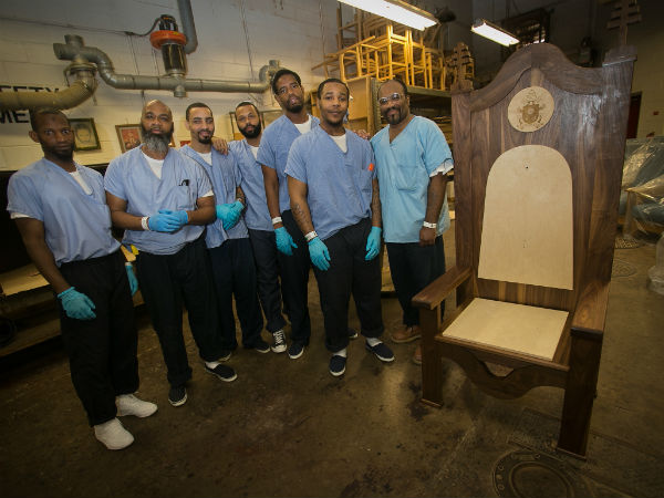 Inmates in the Philadelphia prison system participate in the Philacorp furniture making program. They built a chair for Pope Francis to sit on during his September 2015 visit to the Curran-Fromhold Correctional Facility on State Road. (ALEJANDRO A. ALVAREZ / Staff Photographer)