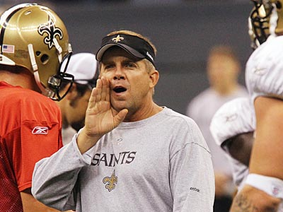 Sean Payton, who coaches the Super Bowl champion New Orleans Saints, got his start in the NFL with the Eagles. (AP Photo / Bill Haber)