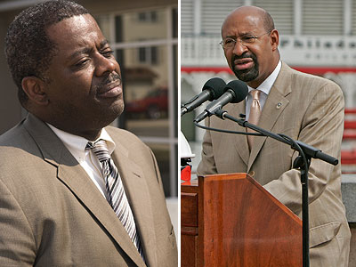 Mayor Michael Nutter (right) has written a letter to Philadelphia Housing Authority Board chairman and former Mayor John F. Street asking for the dismissal of PHA Executive Director Carl Greene (left) if sexual harassment claims against him are proven true.