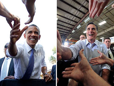 The gap in Pennsylvania between President Obama and Republican challenger Mitt Romney has narrowed to 3 percent, a new poll finds. (AP Photos)
