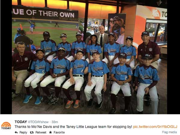 The Taney Dragons appeared on NBC´s Today show on Monday, Aug. 25. The show posted a message on Twitter thanking the team for appearing.