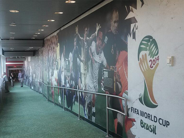 A wall detailing the history of the World Cup on a walkway at ESPN´s headquarters in Bristol, Conn. (Jonathan Tannenwald/Philly.com)