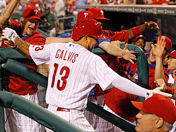 The Phllies´ Freddy Galvis celebrates his two-run home run. (Ron Cortes/Staff Photographer)