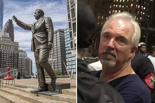 Left: The statue of former Philadelphia mayor Frank Rizzo. Right: Sheerin