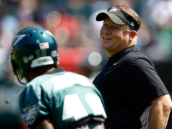 Eagles head coach Chip Kelly and wide receiver DeSean Jackson. (David Maialetti/Staff Photographer)