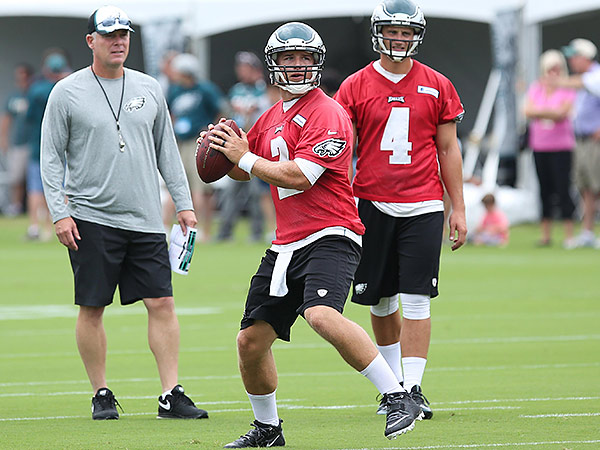 Eagles backup quarterbacks Matt Barkley (center) and G.J. Kinne (right). (Bill Streicher/USA Today Sports)